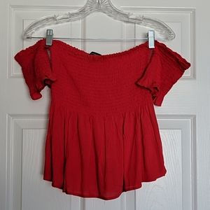 Ambiance Red Smock Off the Shoulder Top S
